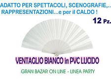 VENTAGLIO BIANCO PVC LUCIDO 12 PZ. STOCK SPOSI COMUNIONE GADGETS PARTY FESTA