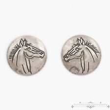 Antique Vintage Native Navajo Sterling Mercury Coin Silver Chased Horse Earrings
