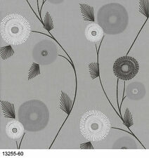 Patch Work Floral 13255-60 White, Beige & Grey Wallpaper