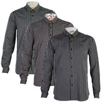 NEW MENS GABICCI VINTAGE LONG SLEEVE COLLARED FORMAL STRIPE SHIRT TOP SIZE S-XXL