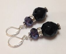 Vintage French Jet Earrings Black Sparkly Faceted Czech Glass Beads Rhinestone