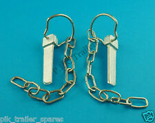 FREE P&P* 2 x Flat Sword Cotter Pin & Chain for trailer & horse box tail gates
