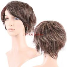 5A Quality Short Synthetic Hair Full Wig Curly Wave Straight Ombre Two Tone Wigs