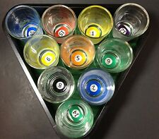 Billiard Pool Shot Glasses Shooter Triangle Classic Elements 10-Piece with Tray
