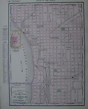 1901 St. Joseph, Mo. Original Dated Color Atlas Map*  St. Louis map on back