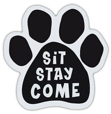 Dog Paw Shaped Magnets: SIT STAY COME | Playful Pet Magnet | Dogs, Gifts, Cars