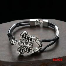 Men's HQ Stainless Steel & Rubber Jewelry Scorpion Cuff Chain Link Bracelet 8""