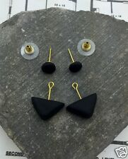 Handmade Black Circle Triangle Gold Plated Ear Jacket Double Sided Cuff Earrings