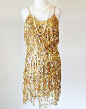 GLAMOUR FLAPPER FRINGE 1920s GOLD GREAT GATSBY CHARLESTON SEQUIN LATIN DRESS S