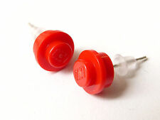 Boucles d'oreilles / earrings LEGO, plates 1x1 rondes rouges