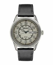 Mens Seiko Solar Recraft Black Leather Band Gray Dial Watch Day Date SNE447