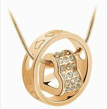 Fashion Women Heart White Crystal Charm Pendant Chain Necklace Gold Jewelry DIY