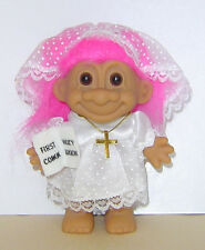 "RUSS  4"" TROLL DOLL FIRST HOLY COMMUNION WITH CROSS NEW IN BAG RUSS STICKER"
