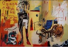 Jean-Michel Basquiat Poison Oasis Abstract HUGE Oil Painting on Canvas 24x36""