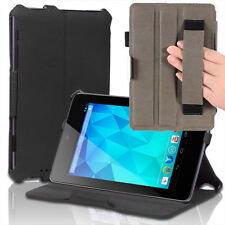 Slim Hard Back Leather Case Smart Cover w/ Hand Strap For Google Nexus 7 Black