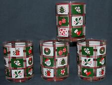 "VTG Culver Colorful Christmas Theme in Bright Squares Heavy 4-1/8"" Tumblers NEW"