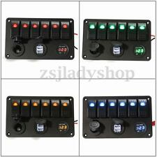 6 Gang RV Boat Marine LED ON-OFF Rocker Switch Panel Voltmeter Dual USB Charger