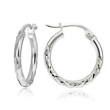 "Sterling Silver Diamond-Cut .6"" Small Round Hoop Earrings"