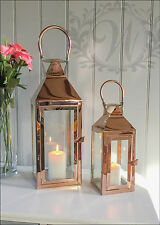 Set 2 Tea Light Lantern Holder Candle Style Garden Antique French Copper Vintage