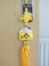JAPANESE WHITE LUCKY CAT YELLOW HANGING CHARM CHINESE BIRTHDAY PARTY - PEACE D5