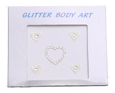 White Cute Heart Rhinestone Encrusted Glitter Vajazzle Body Art Kinky (Zx62/124)