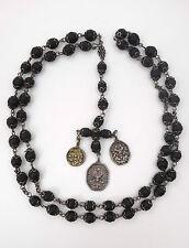Superbe ancien chapelet argent massif ébène XVIIeme 17eme médailles religieuses