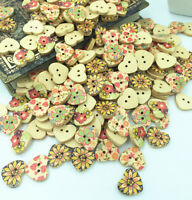 100pcs Wood color heart-shape 2 Holes Wooden Sewing Buttons Scrapbooking 18mm