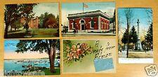 5 Postcards Adrian Michigan MI Devils Lake 1906-1938 College Post Office Square