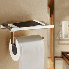 Chrome Stainless Steel Bathroom Paper Holder Toilet Tissue Roll Shelf Mounted