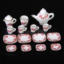 15pcs Dollhouse Miniature Dining Ware Porcelain Tea Set Dish Cup Plate Set