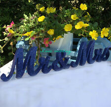 navy blue Mr & Mrs Glitter Sign- Wedding decoration- Mr and Mrs signs for sweeth