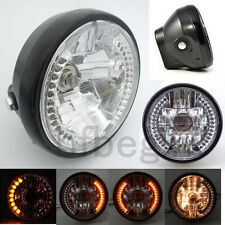 "7"" Motorcycle Black Headlight Project Amber LED Turn Signal Light For HARLEY"