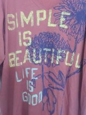 "LIFE IS GOOD Women´s Color Brick T-Shirt XL 3/4 Sleeve ""Simple is Beautiful"""