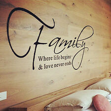 Family Love Quote Wall Sticker Decal Removable Mural Art Vinyl Home Decor DIY MA