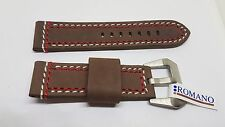 22mm BROWN LEATHER ROMANO  WITH RED AND WHITE STITCHING WATCH STRAP SS