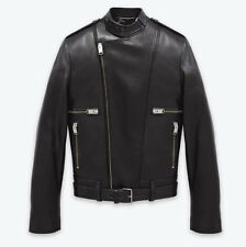 SAINT LAURENT YSL Belted Motocross Biker Moto Black Leather Jacket Sz 56 -$5,350