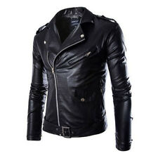 Fashion Men's PU Leather Jacket Lapel Biker Motorcycle Jacket Coat Outwear Tops