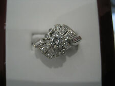 14K White Gold Ladies Estate Diamond Ring With Baguettes And Rounds .75 Ct
