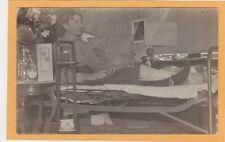 Real Photo Postcard RPPC - Disabled Man Injured Leg in Bed Shaving Brush & Cup