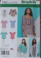 Simplicity Sewing Pattern 1162, New,, Misses Blouse, Size 14, 16, 18, 20, 22