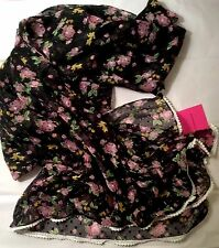 NWT Betsey Johnson Sheer Floral Scarf Oversize Wrap Scarf Black Pink White Green