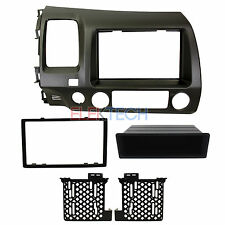 Double/Single-DIN w/Pocket Radio Replacement Dash Install Kit TAUPE for Honda