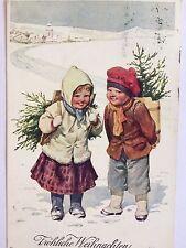 Künstler Ak Feiertag B.K.W.I 2781-5Weihnachten Kinder gel.1911 Stempel Briefmark