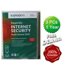 Sealed Kaspersky Internet Security 2015 3 Users Multi device inc Antivirus Boxed