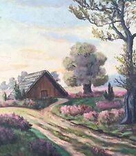 Hübsches Ölgemälde- Landschaft mit Scheune - Eichenblätter geschnitzter Rahmen