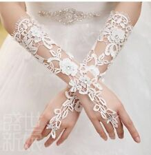 88g Bridal Wedding Prom Rhinestone Accent Ivory Cut Lace Fingerless Gloves