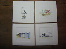"Spiaggia, SEAGULL, beachhut stampe x 4, in Mounts 6 ""X 6"" MOUNTS"