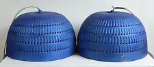 Vintage Pair of Mid Century Modern Hanging Dome lamp lights Blue Swag design