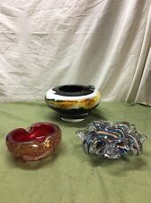 3 Very Nice Vintage Murano Ashtrays. Look. Nice Stuff