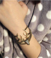 bronze Retro Full Diamante Multilayer Mysterious Deer Head Fashion Bracelet